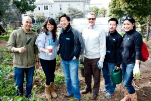 Our dedicated volunteers Justin, Nat & Phong brave the SF cold and break a sweat at Hayes Valley Farm.